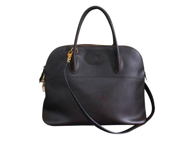 Hermès Bolide Handbags Leather Dark brown ref.90122