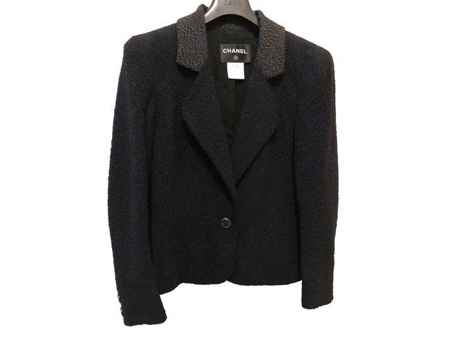 Chanel Jacket Jackets Wool Black ref.90151