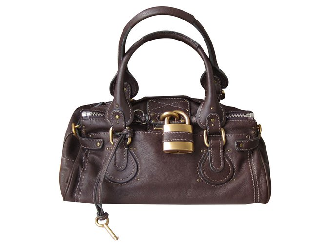 Chloé paddington Handbags Leather Dark brown ref.90153