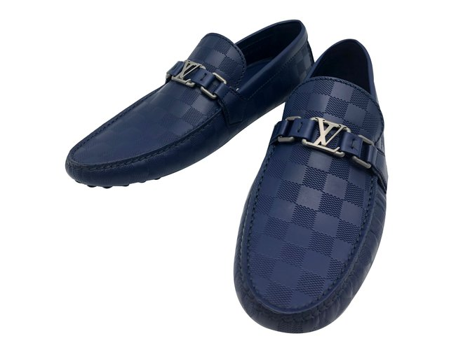 71959c795e53 Louis Vuitton Louis Vuitton Hockenheim model moccasins in navy checkered  leather
