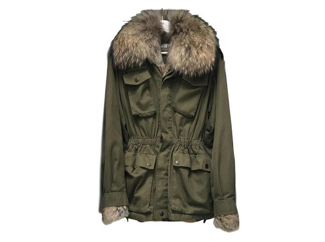 Yves Salomon ARMY Coats, Outerwear Fur Khaki ref.90207
