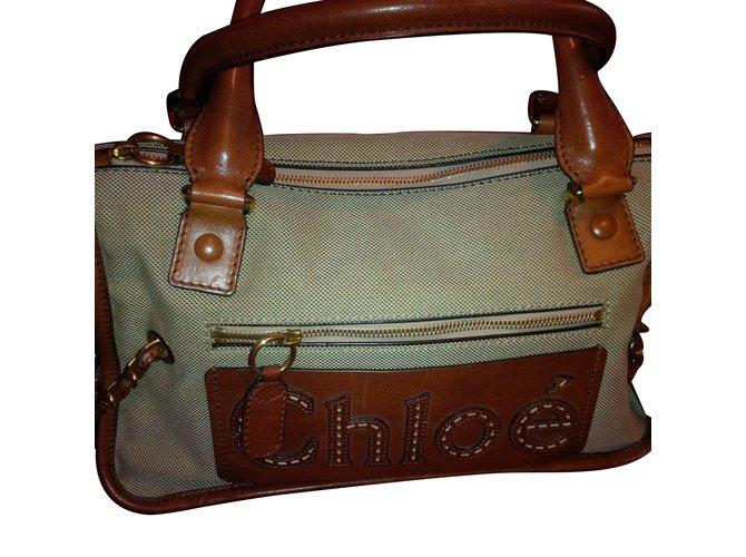Chloé Handbag Handbags Tweed Caramel ref.90215