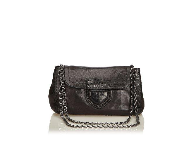 ed91d0fd3546 Prada Leather Flap Chain Shoulder Bag Handbags Leather