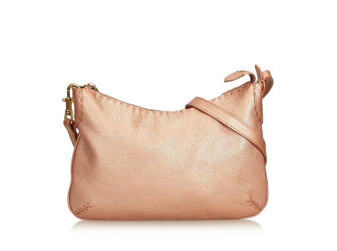 df2f29ce82 Fendi Selleria Leather Crossbody Bag Handbags Leather,Other Pink,Golden  ref.90221