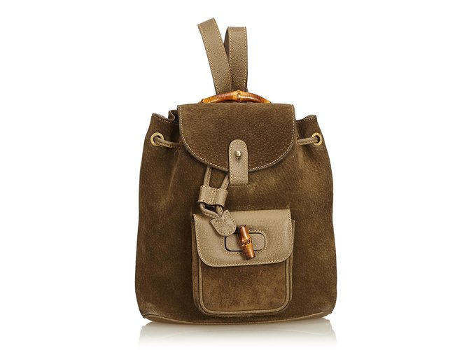 51ff6a56009 Gucci Bamboo Suede Drawstring Backpack Backpacks Suede