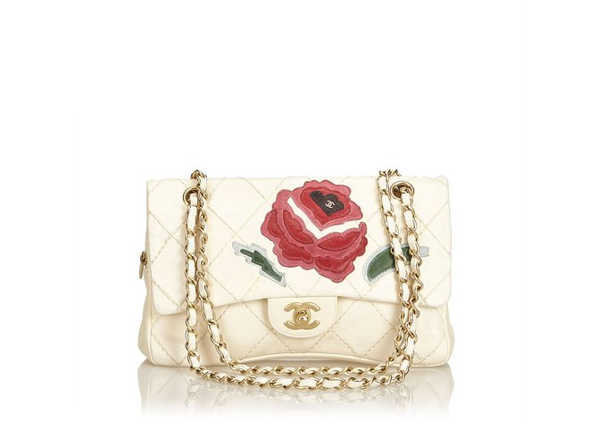 Chanel wild stitch lambskin flap with rose applique handbags
