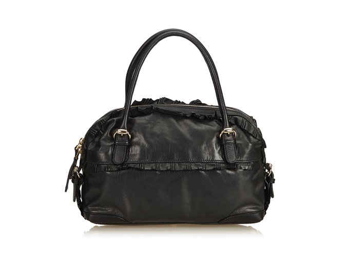 3f12b9d3ffc4 Gucci Leather Sabrina Shoulder Bag Handbags Leather,Other Black ref.90304