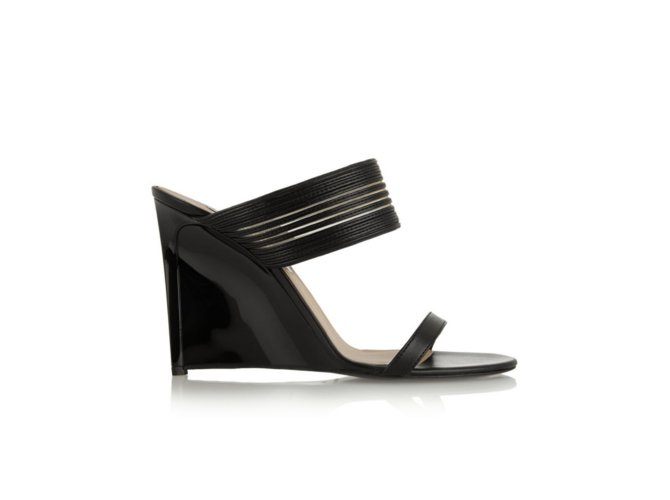 e18181e7e Diane Von Furstenberg Valencia Wedge mules Leather Black ref.90434 ...