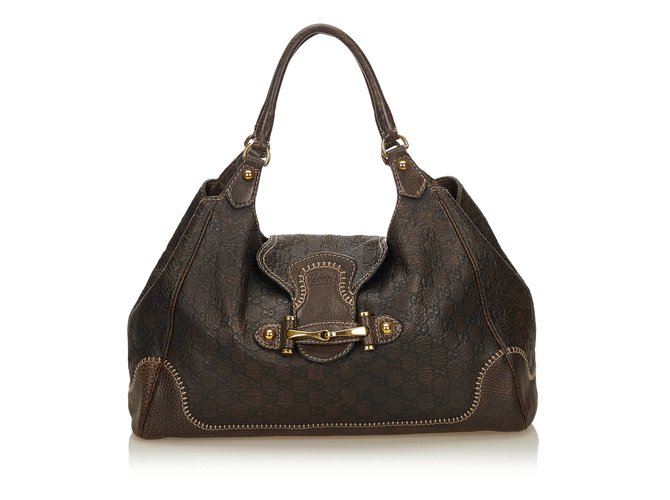 53a3e2ec0 Gucci Guccissima Leather New Pelham Hobo Bag Handbags Leather,Other Brown,Dark  brown ref