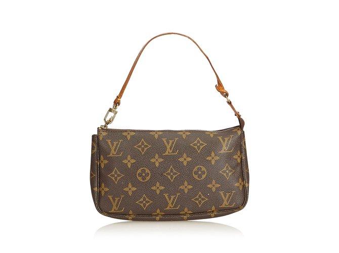 6a3994e38911 Sacs à main Louis Vuitton Monogram Pochette Accessoires Cuir,Toile Marron  ref.90525