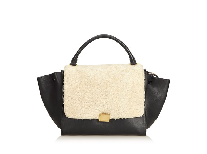 Céline Shearling Trapeze Satchel Handbags Leather 93b090a5ddc4f