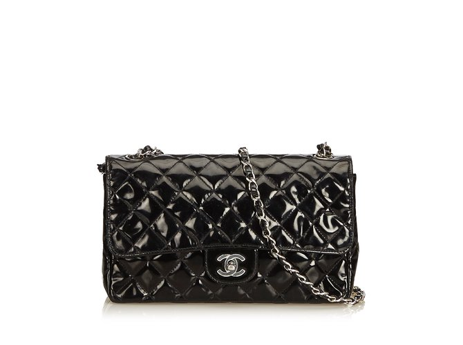 70f7f0f619dbd9 Chanel Classic Medium Patent Leather Single Flap Bag Handbags Leather,Patent  leather Black ref.