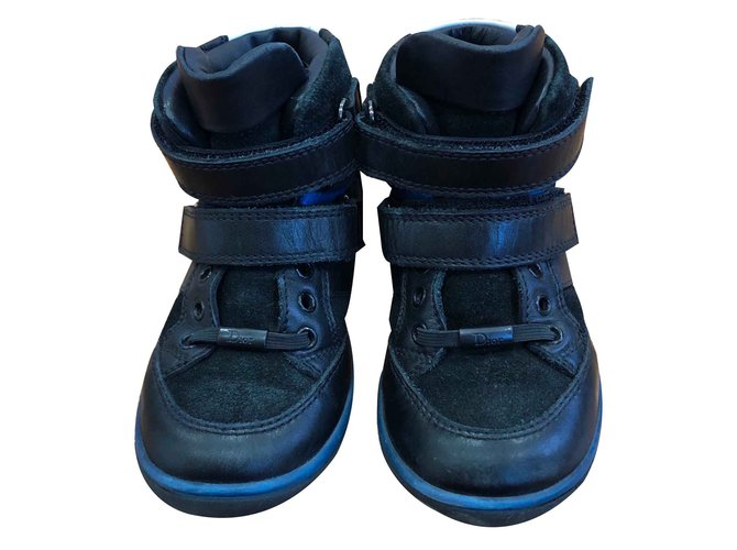 Dior Hi top trainers Sneakers Leather Blue ref.90556