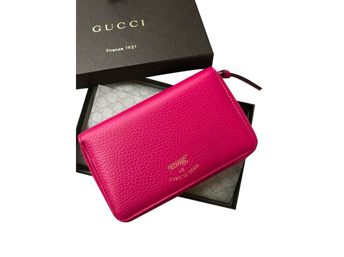 aaf264feb4d2 Gucci Pink leather wallet Purses, wallets, cases Leather Pink ref.90659