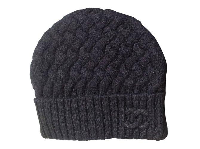 Chapeaux Chanel BONNET CACHEMIRE Cachemire Noir ref.90705