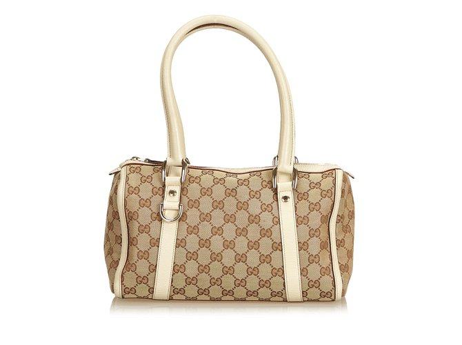 20df42539bbf Gucci Guccissima Canvas Boston Bag Handbags Leather,Other,Cloth,Cloth  Brown,White