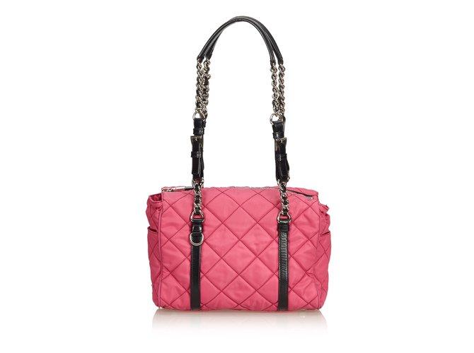 33e93f74c816 Prada Matelasse Nylon Chain Shoulder Bag Handbags Leather,Other,Nylon,Cloth  Black,