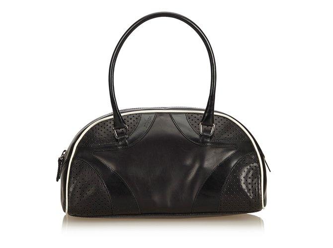 Prada Leather Vitello Drive Perforated Bowling Bag Handbags Leather ... ce03b8601ccc0