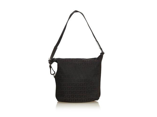 a4fd6e506045 Fendi Zucchino Canvas Shoulder Bag Handbags Leather