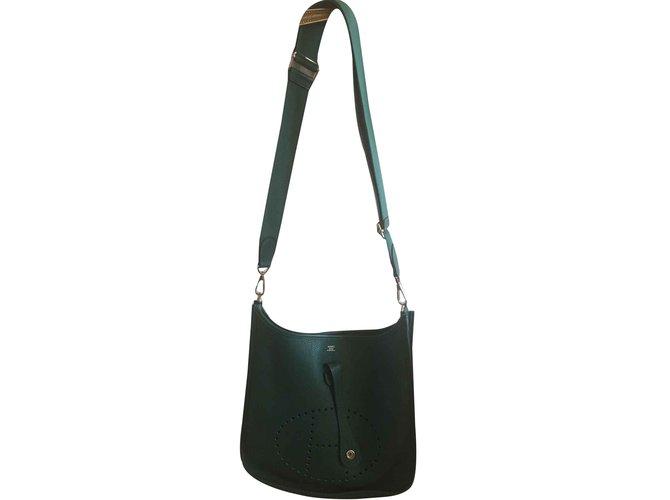 Hermès Sac Evelyne 3 AM 29 Handbags Leather Green ref.90815