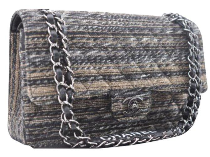 c0c75473fe95 Chanel Tweed Lamb Skin Matelasse 25 Handbags Other Golden ref.90839 ...