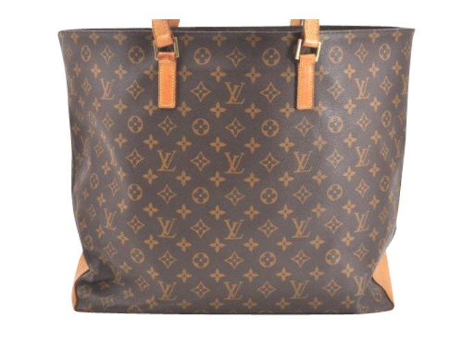 7dcc9c398aff Louis Vuitton Cabas Alto Handbags Cloth Brown ref.90846 - Joli Closet
