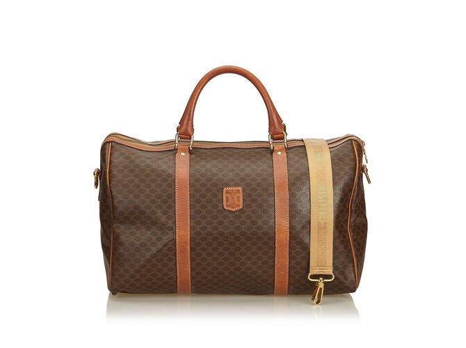 Sacs de voyage Céline Macadam Duffle Bag Cuir,Autre,Plastique Marron  ref.91037 1dd4f7886a44