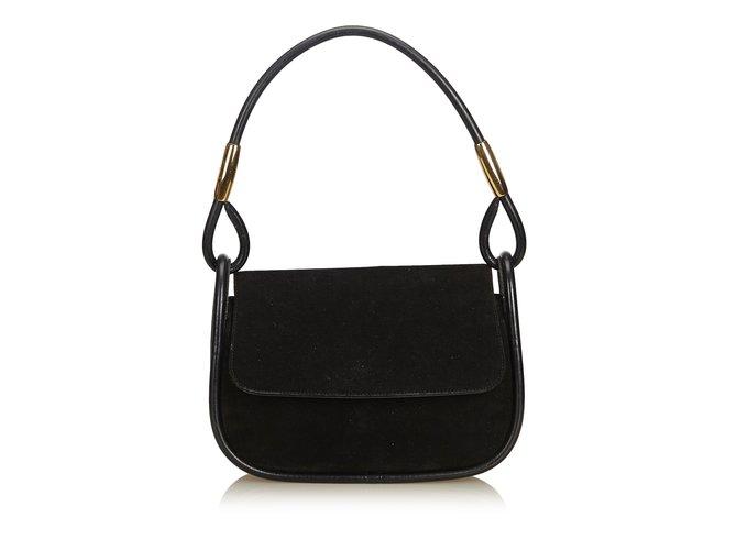 6afe7239834d Gucci Nubuck Leather Baguette Handbags Leather,Other,Nubuck Black ref.91062