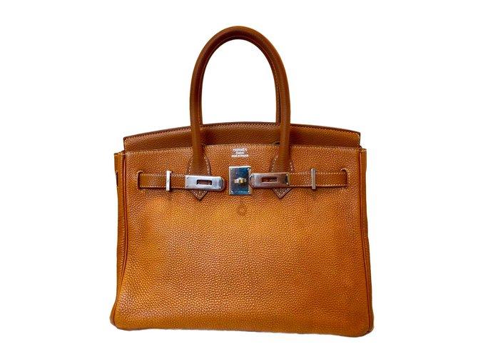Sacs à main Hermès Birkin 30 Cuir Marron clair ref.91123