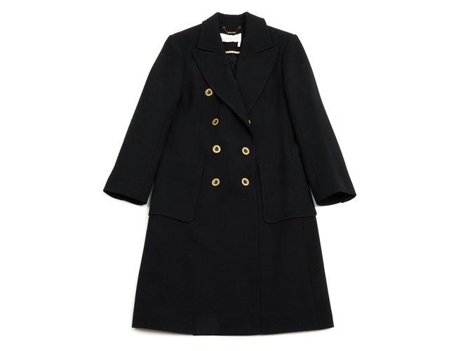 Manteaux Chloé Manteau en laine noire Laine Noir ref.91183