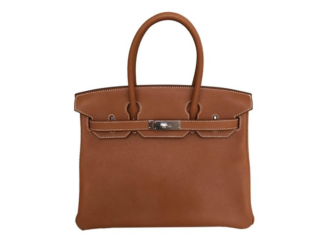 Sacs à main Hermès Birkin 30 Fauve Barenia avec matériel Palladium Cuir Marron ref.91277