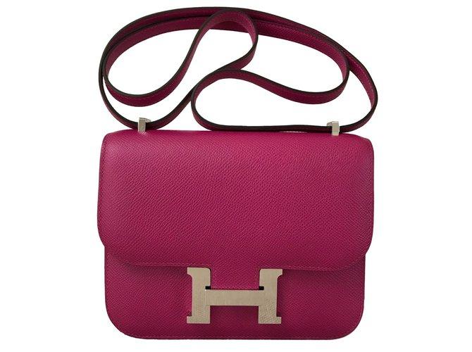 Hermès Constance Epsom 18CM Purple Rose Handbags Leather Pink ref.91278