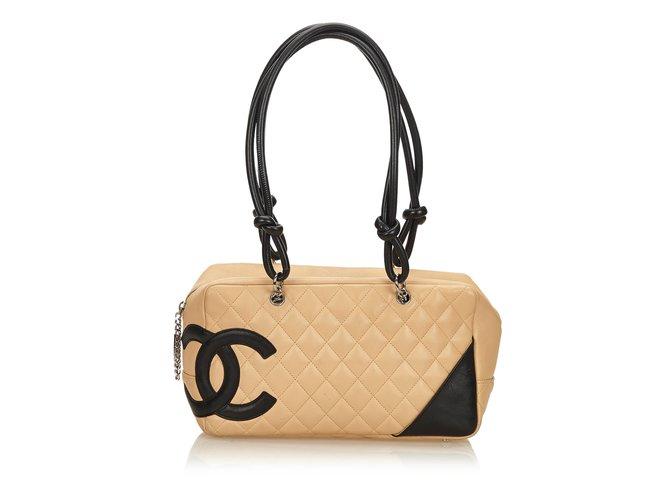 cebc473b078e Sacs à main Chanel Cambon Ligne Shoulder Bag Cuir Marron,Noir,Beige ref.