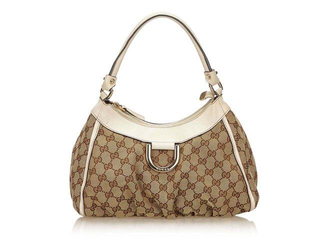 0eb30c1b9 Gucci Guccissima Canvas D-Ring Shoulder Bag Handbags Leather ,Other,Cloth,Cloth