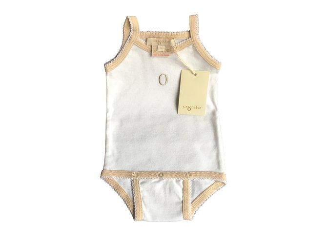 Autre Marque Bib bodysuit Bodysuits Cotton White,Beige ref.91408