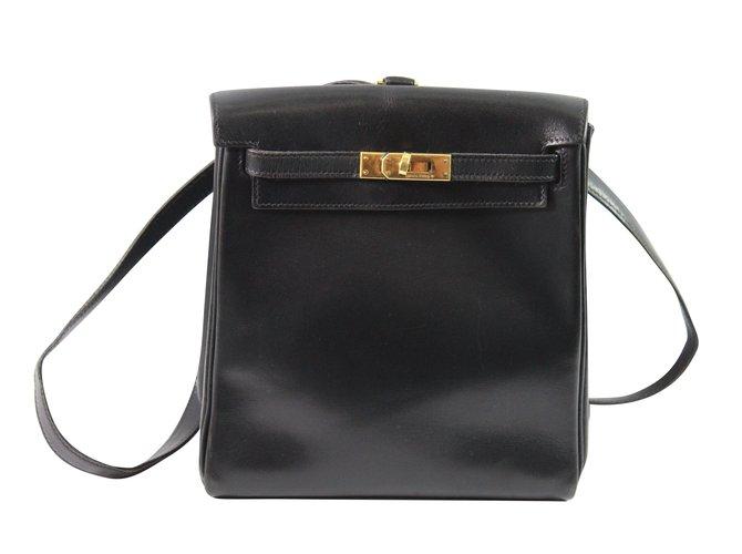 Sacs à main Hermès kelly a dos Cuir Noir ref.91481