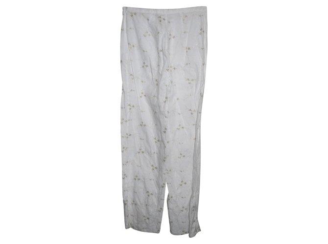 Escada Pants, leggings White Golden Linen Metal  ref.91490