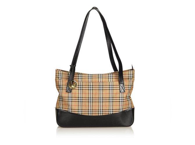 Burberry Plaid Canvas Tote Bag Handbags Leather 785c59969c4b1
