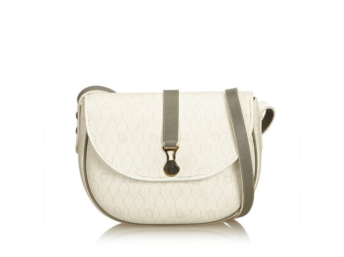 Dior Honeycomb Coated Canvas Crossbody Bag Handbags  Leather,Other,Cloth,Cloth White, 89d490f895