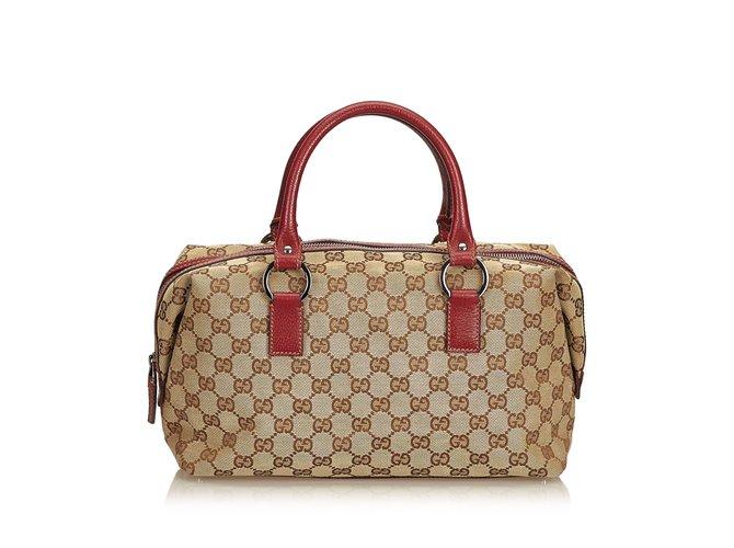 301694df1fe8 Sacs à main Gucci Guccissima Jacquard Boston Sac Cuir,Autre,Tissu Marron ,Rouge