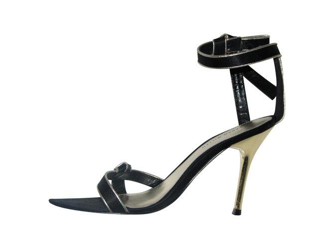 8af4b3283bf Karen Millen sandals Heels Leather,Satin Black,Silvery ref.91643 ...