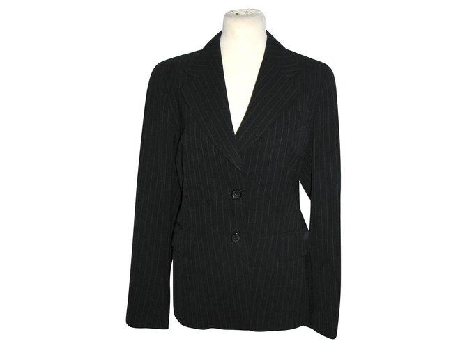 Vestes Dries Van Noten Blazer en laine à fines rayures Laine Noir,Gris ref.91645