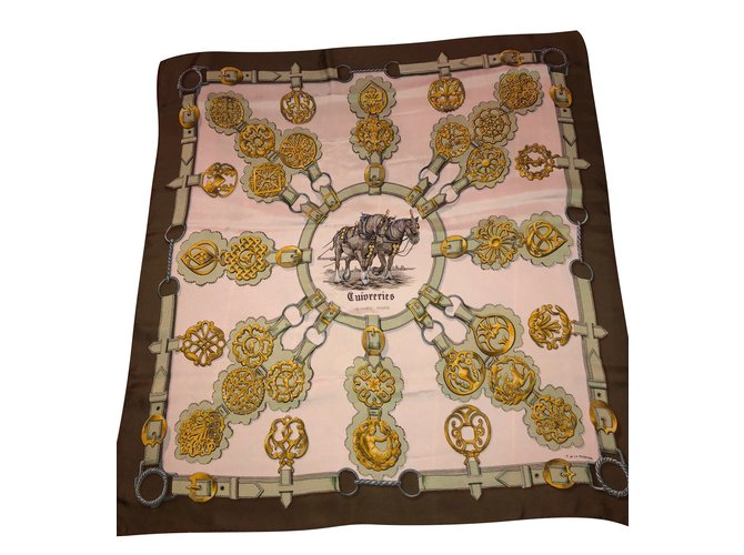 Hermès Signed F of the Perriere Silk scarves Silk Yellow,Cream,Light green ref.91718