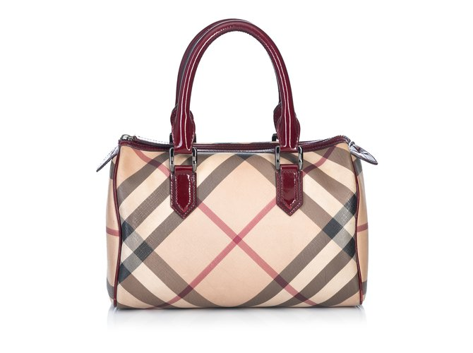 6813d92883c Burberry Supernova Check Boston Bag Handbags Leather,Other,Plastic  Brown,Multiple colors,