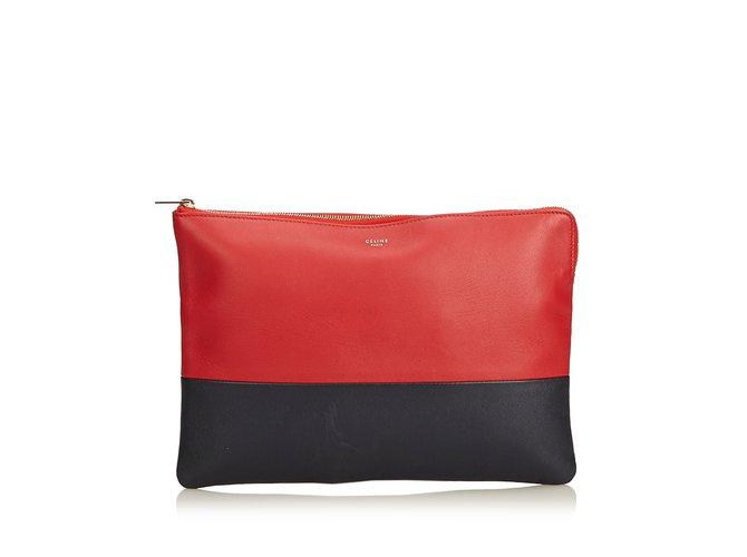 ea7fcd37a4c3 Céline Bicolor Leather Clutch Bag Clutch bags Leather