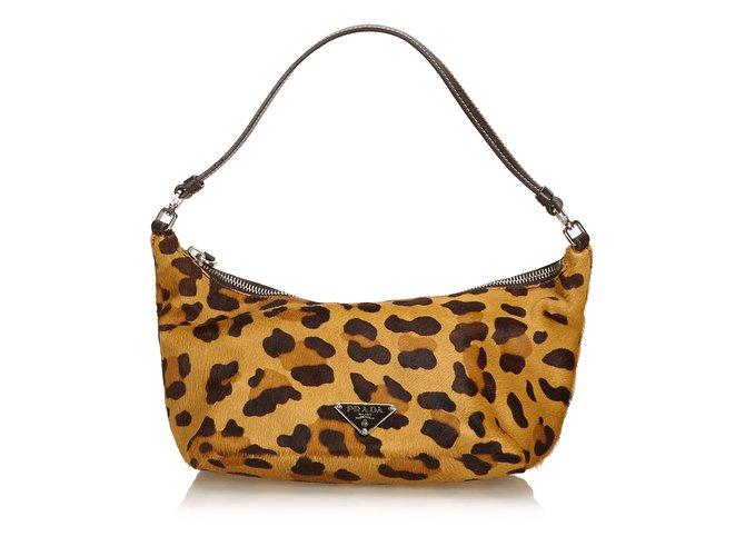 910acdbc9f6 Prada Leopard Print Ponyhair Handbag Handbags Leather,Other,Pony hair  Brown,Black ref