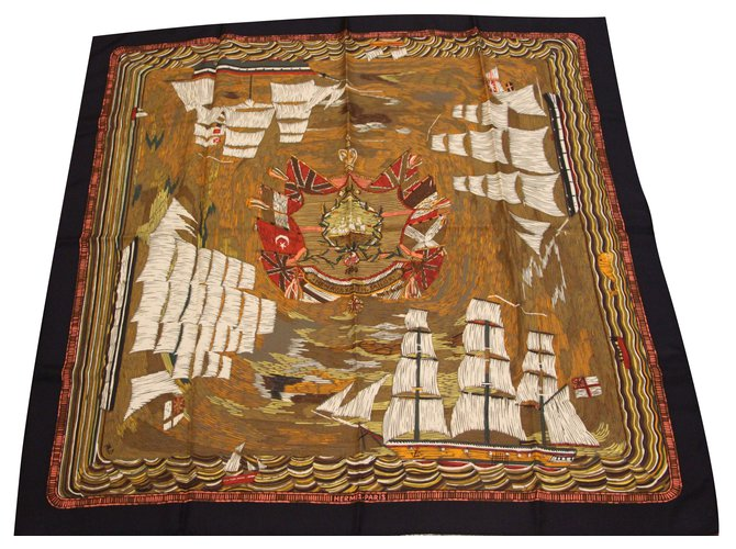 Hermès Square silk twill printed Henry. James.Sailor 1880 by Philippe Dumas Silk scarves Silk Black ref.91820