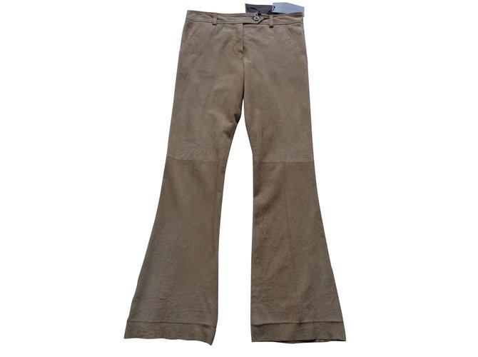 Pantalons Ermanno Scervino Pantalon en cuir Suede Beige ref.91865
