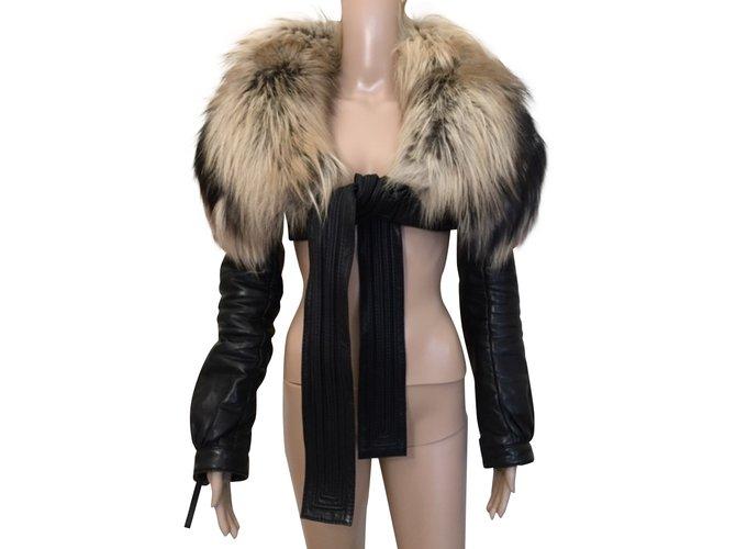 Manteaux Dsquared2 Manteaux, Vêtements d'extérieur Cuir,Fourrure Noir ref.91875