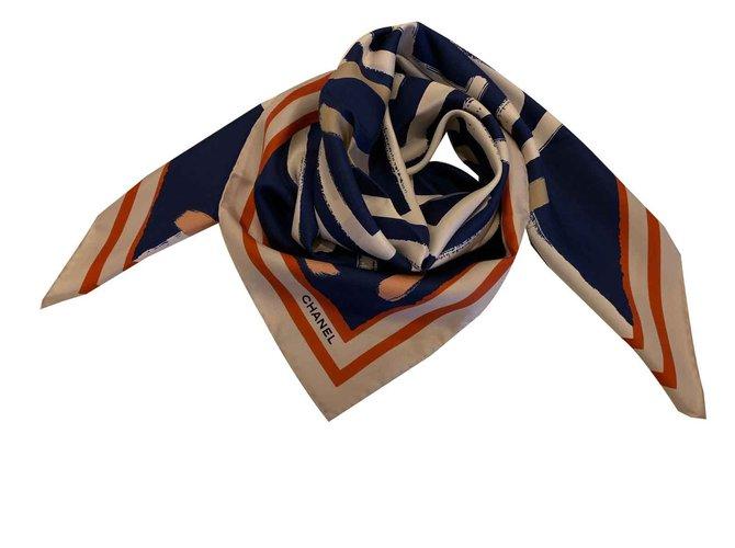 Chanel silk scarf Silk scarves Silk Navy blue ref.91907